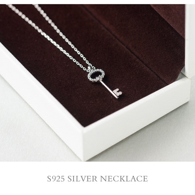 925 Sterling Silver Jewelry Love Key Pendant Necklace