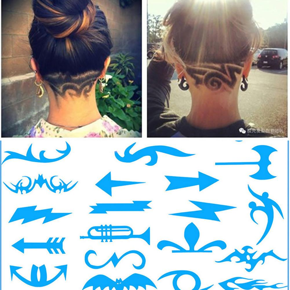 16Pcs/Pack Hair Styling Tattoo Template Stencil Hair Trimmer Carved Coloring Cool Hairstyling Tool DIY Hairdressing Model Trimmer Salon Barber Hair Template Mold