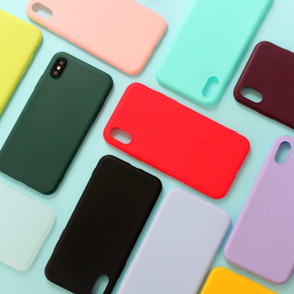 For iPhone 7 Case Candy Solid Color Soft Silicone Cover for iPhone X Case iPhone XR Case 6 6S 7 8 Plus 6 5S SE XS MAX Coque
