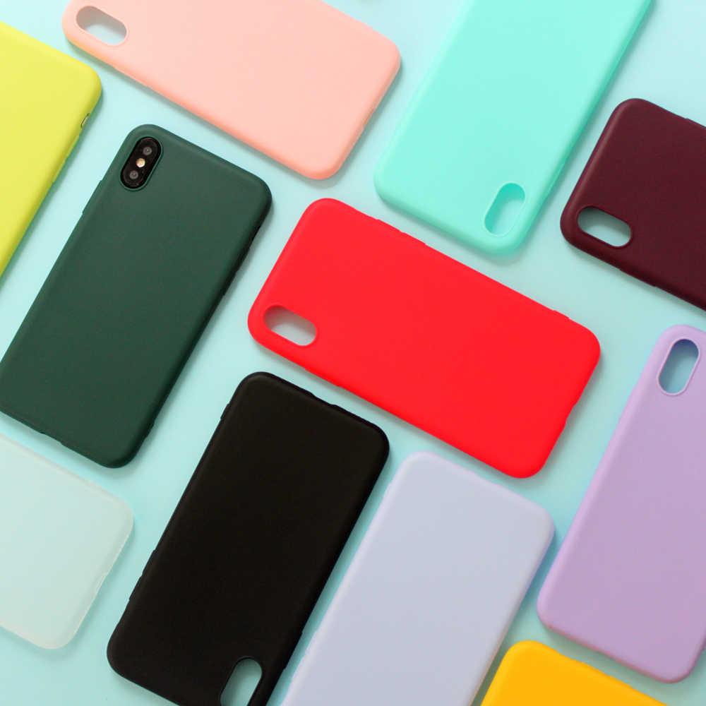 ل فون 7 حالة الحلوى الصلبة اللون لينة غطاء سيليكون ل فون X حالة فون XR حالة 6 6S 7 8 زائد 6 5S SE XS ماكس كوكه