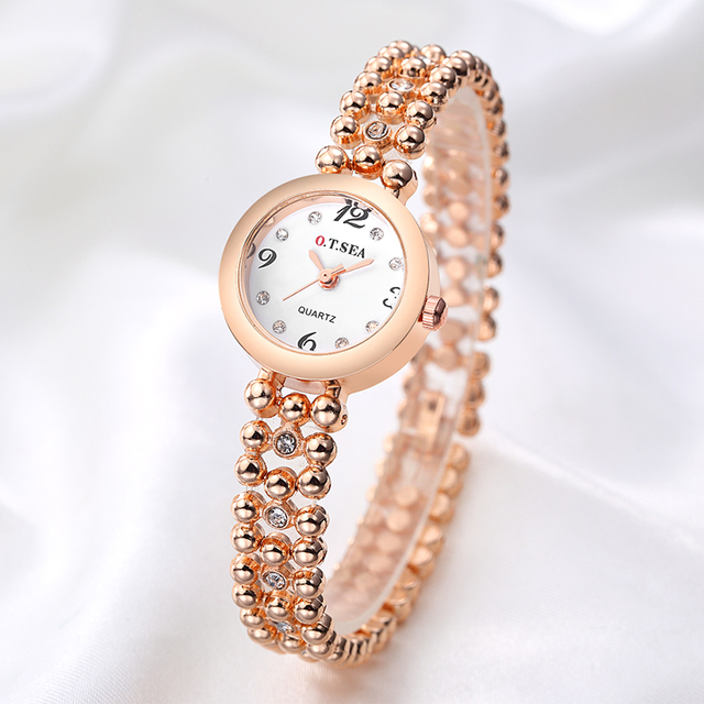 Hot Sales O.T.SEA Brand Stainless Steel Bracelet Watches Women Ladies Crystal Dr