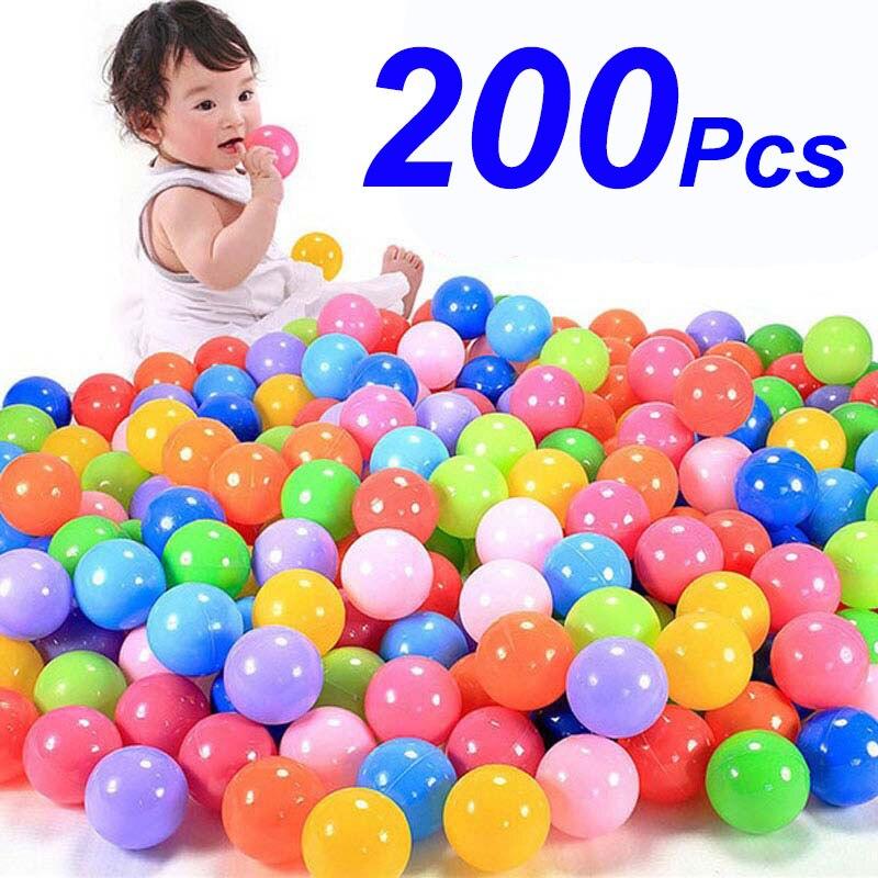 200 pièces/sac écologique coloré en plastique souple piscine d'eau océan vague balle bébé drôle enfants jouets Stress Air balle en plein Air Sports amusants