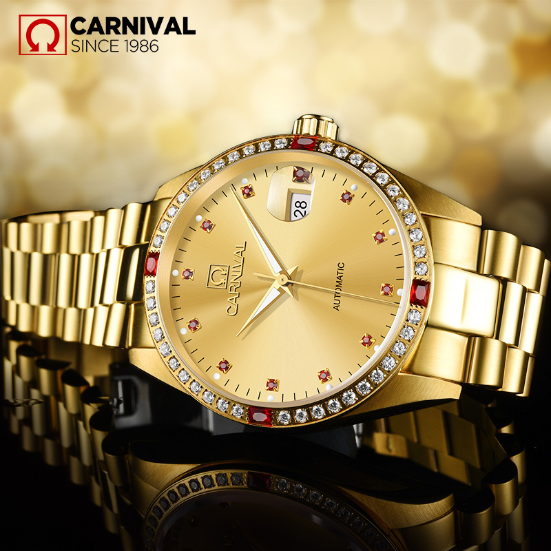 Carnival Watch Men Red Diamond Dial Automatic Mechanical Luminous All Gold Stainless Steel Waterproof Watches цена и фото