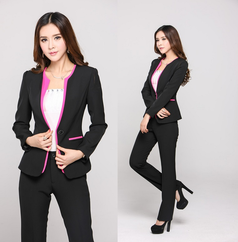 New 2015 Fall Winter Formal Ladies Pant Sets Women Suits with ...