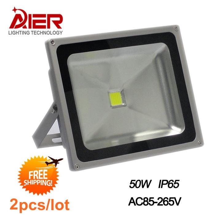 Fast fedex free shipping 2pcs 50W 85V-265V Outdoor Waterproof LED Floodlight 2pcs fast shipping 100