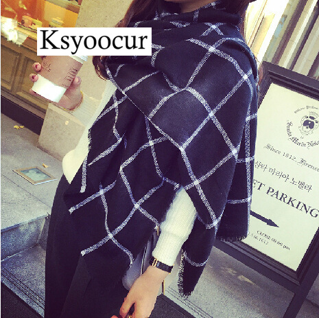 Size 200*85cm, 2019 New Style Cashmere Shawl Large Soft & Heavy   Scarf     Wrap   & Black and White Plaid for Women BRAND Ksyoocur
