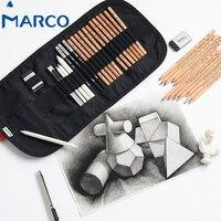 Marco 20 штук набросок рисунок художественный карандаш комплект студент графит уголь ластики Бумага ручки ножом художников ролики