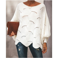 New Fashion winter sweater women pull OL knit O neck lantern sleeve knitwear hollow out pullover sexy sweaters woman clothes top