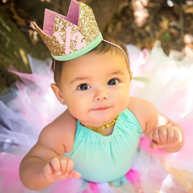Boy Blue Silver First Birthday Hat Girl Gold Pink Priness Crown Number 1st 2 3 Year Old Party Glitter Headband