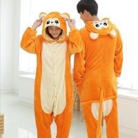 NEW Lounge Robe Novelty Adult Animal Orange Monkey Pajamas Cute Fleece Full Sleeves Hooded Sleepwear Unisex