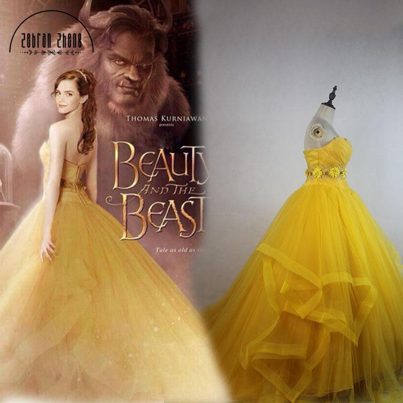 Top Qualité! nouveau Film Beauté Et La Bête Belle Princesse Pour Adulte Cosplay Costume Fantaisie De Mariage Robe Custom Made