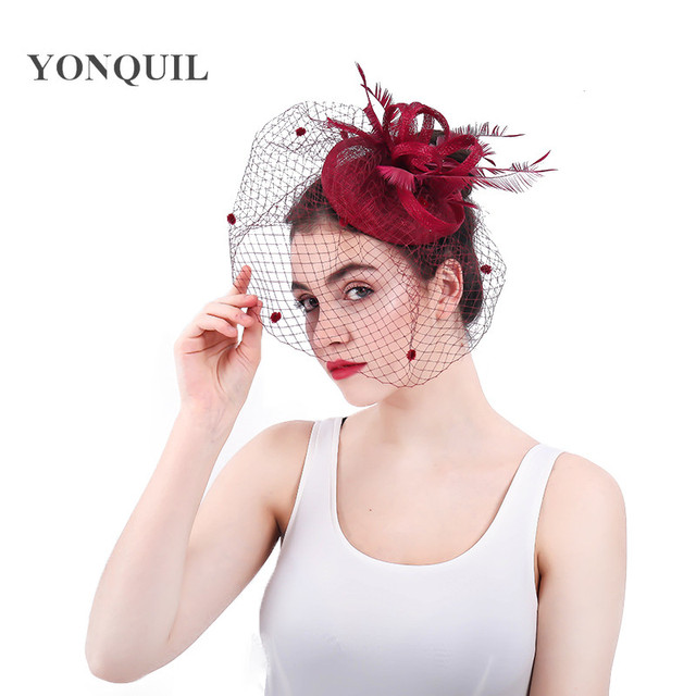 c304cf2a Women Forma Gorgeous Fascinator Hat Fedoras loops pillbox Cap sinamay  Elegant Veil Hat Wedding headpiece 2018