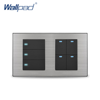 Wallpad 7 Button 2 Way Wall Switch With LED Indicator Luxury Satin Metal Panel Wall Light Switch 10A AC110~250V 160*86mm