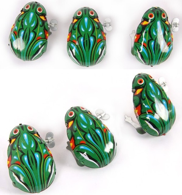 3Pieces/lot Chinese Baby Classic Iron Frog Clockwork Toys Children Vintage Wind Up Jumping Frog Iron Clockwork Hopping Toys