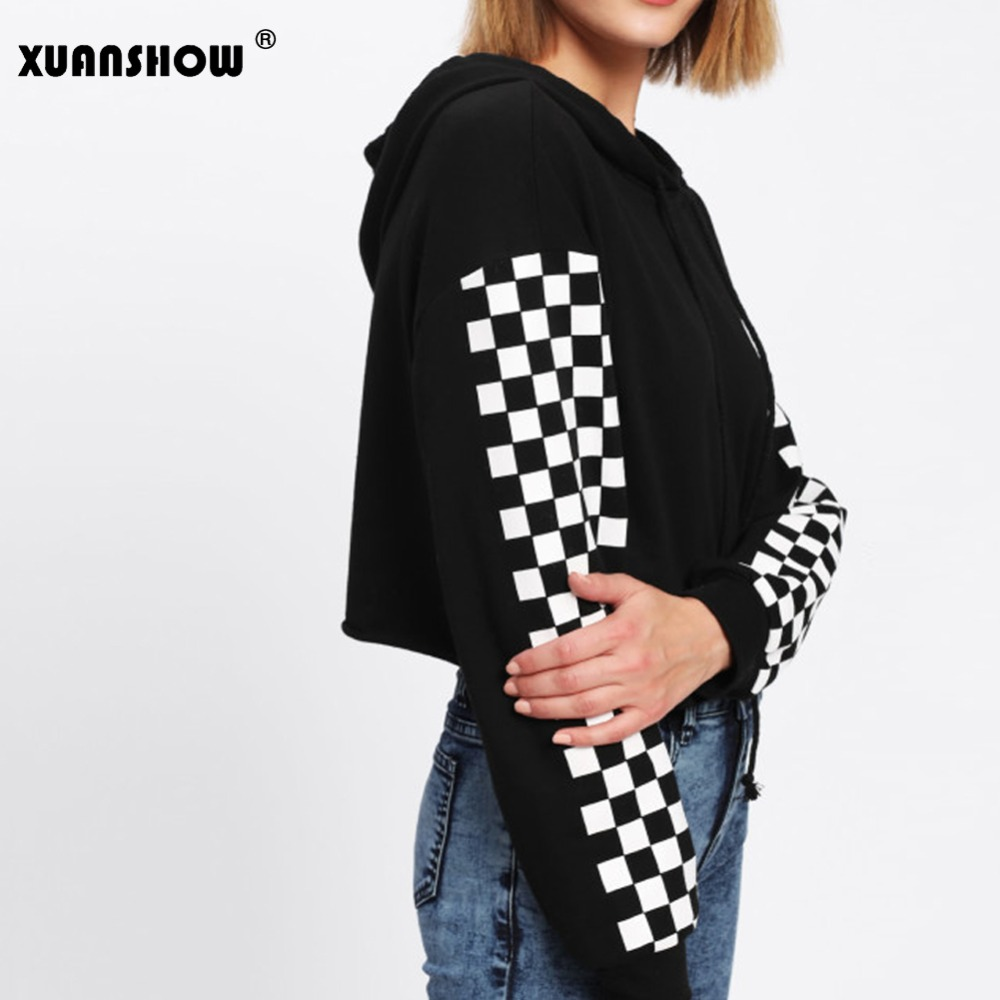 XUANSHOW Crop Top Long Sleeve White Plaid Side Women's Hooded Sweatshirt 2018 Autumn New Arrival Short Pullovers Hoodies Moletom