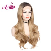 Aurica mixed blonde ombre natural wave heat resistant fiber hair natural glueless blonde synthetic lace front wigs dark roots
