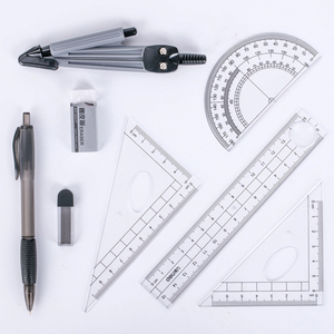 New 8PCS/Set Drawing Compass Ruler Kit Students School Stationery Examination Math Learning Tools Gifts