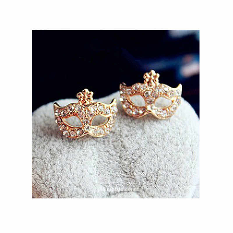 Ed094 Mask Stud Earrings With Rhinestones for Women Fashion Party Jewelry Gold Color Stud Earrings High Quality Wholesale