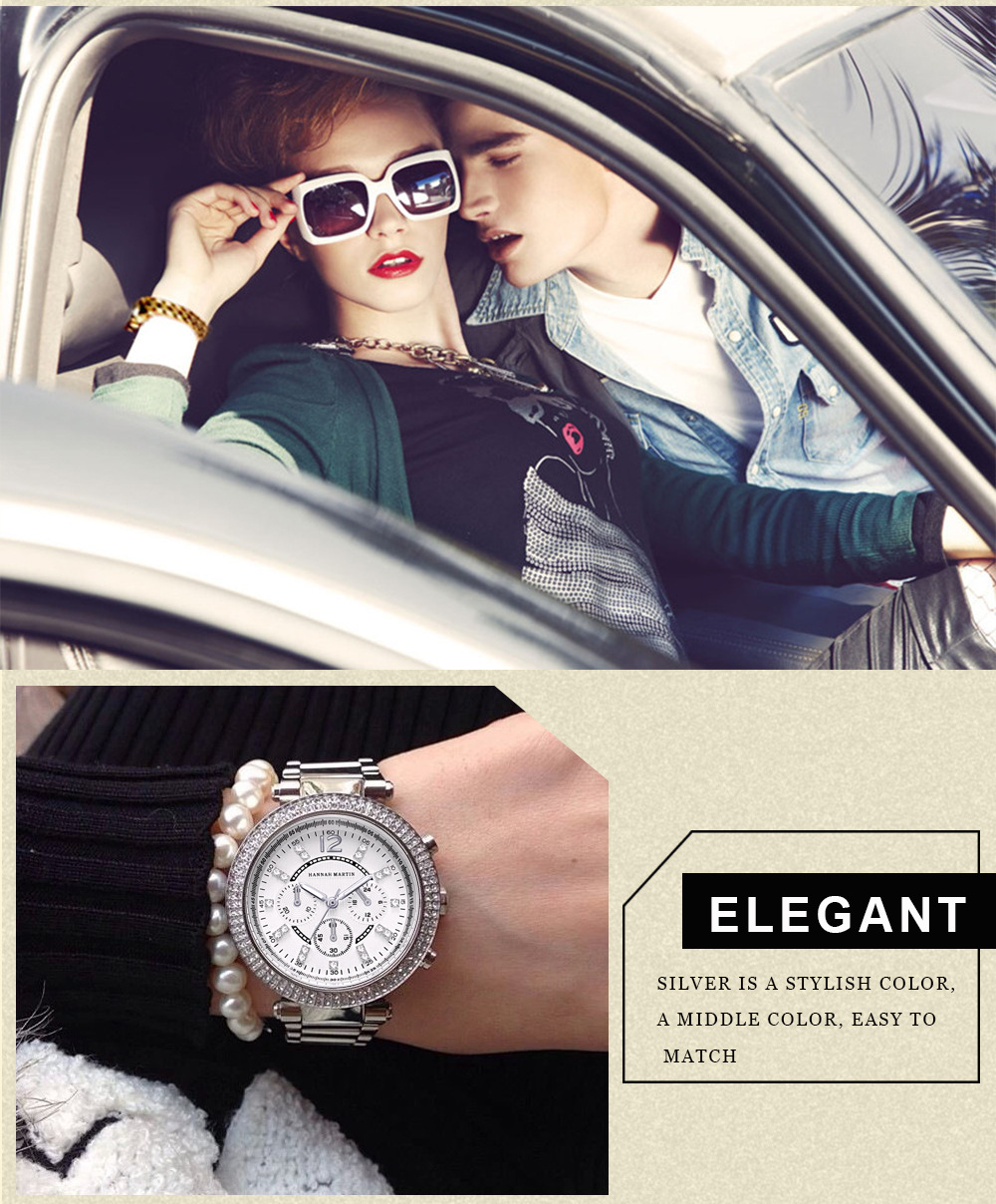Relógios de Ouro Strass Senhoras Elegantes Relógios