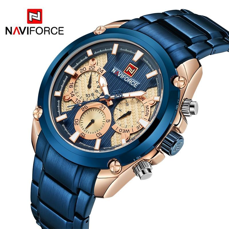 New NAVIFORCE Men Quartz Watch Luxury Mens Sport Watches Full Steel Waterproof Fashion 24 Hour Week Date Analog Clock Wristwatch цена 2017