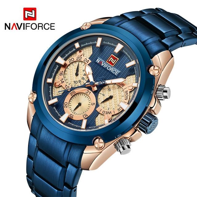 Nieuwe Naviforce Mannen Quartz Horloge Luxe Heren Sport Horloges Volledige Staal Waterdicht Fashion 24 Uur Week Datum Analoge Klok Horloge