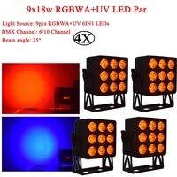 4 pçs/lote DJ Luz LED Par 200W RGBWA + UV 6IN1 Novidades Iluminação Design De Som DMX Disco Party DJ Efeito Palco KTV Luzes Da Noite