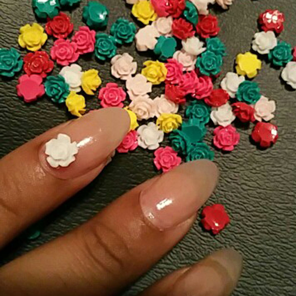6mm Nail Flower Design Mix Color Rose Flowers 3D Nail Art Charm ...