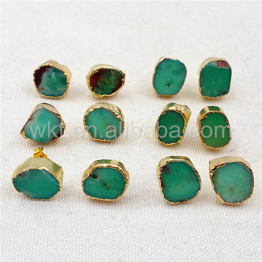 Us 35 55 10 Off Wt E263 5pcs Lot Natural Australia Chrysoprase Earrings Green Stone With 24k Gold Strim Unique Design Jewelry In