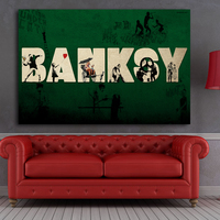 MODERN ABSTRACT HUGE WALL PAINTING ON CANVAS Banksy Artwork Graffiti Street Art Best SALES No FRAME