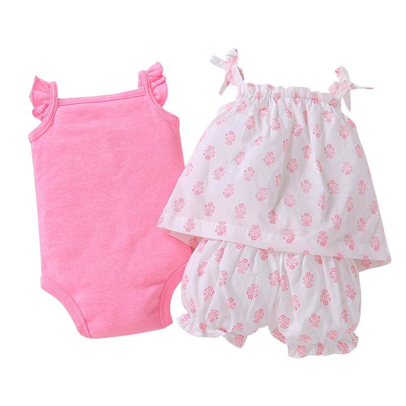 2018 Rushed Vest Floral Baby Clothing Set Hot Sale Clothes Cotton Rompers Girls Summer Pattern Sets 3 Pieces/set=1 + 1 Romper