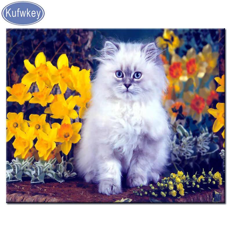 5d глянцевые краски Кошка Животное Алмазная картина Полная площадь вышивка крестиком Алмазная мозаика Алмазная Вышивка Мультфильмы котенок милый питомец