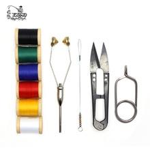 10 + outils dattache à mouches, 6 ensemble avec bobines, demi accrocheur ciseaux, 6 bobines de montage tricot pour mouches