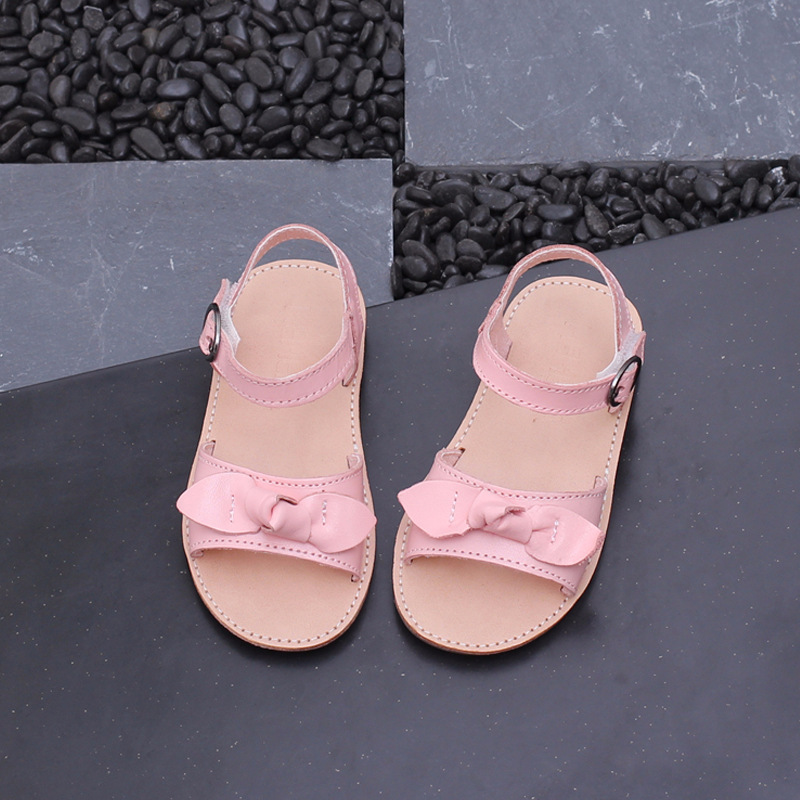 Sandals Girl Bow Child Sandals Princess Shoes Sweet Peep Toe Summer Baby Pink Baby Boy Leather Sandals 21 -30
