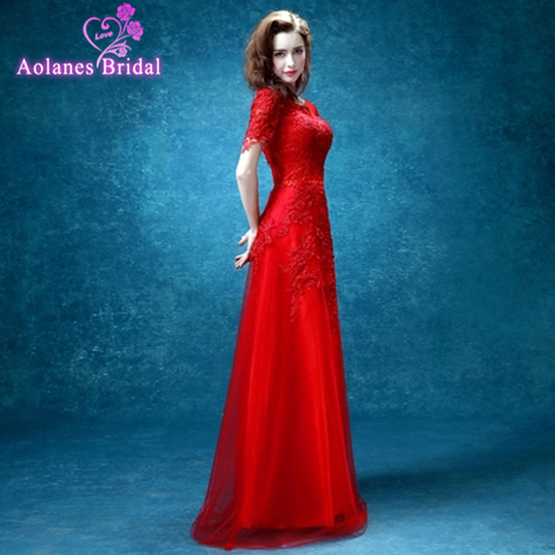 New red sexy party evening dresses Long dress Vestido de Festa A-line appliques beading gown Scoop neck dress free shipping