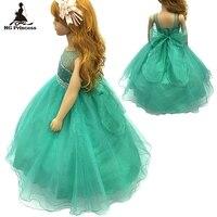 Baumwolle Futter 2-12 Jahre Mädchen Partei Kleid 2017 New Mint grüne Blume Mädchen Kleider Stein Royal Blue kinder abendkleider Für kind