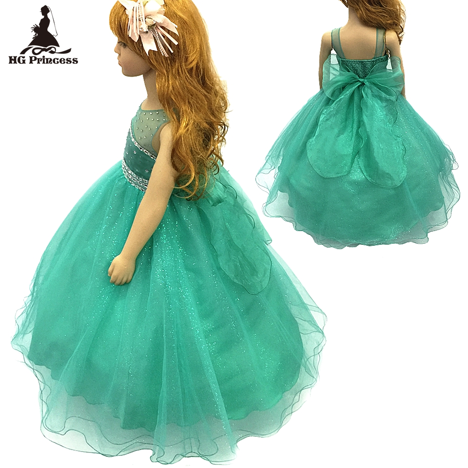 все цены на Cotton Lining 2- 12 Years Girl Party Dress 2018 New Mint Green Flower Girl Dresses Stone Royal Blue kids evening Gowns For Child онлайн