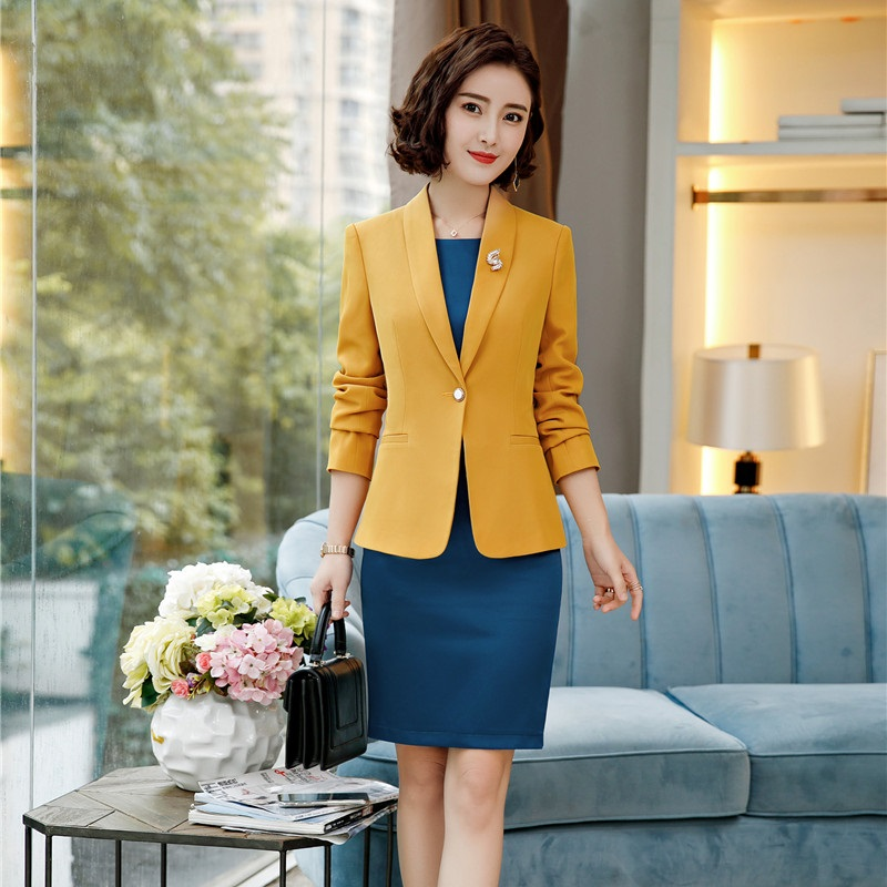 2018 Herbst Winter Mode-stile Frauen Blazer Anzüge Mit Jacken Mantel Und Kleid Weibliche Büro Blazer Sets Mit Gürtel Ol Stile Verkaufspreis