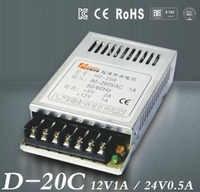 D-20 C 12 V/1A 24 V/0.5A Ultra tritare doppio sortita alimentazione versare luce di Striscia del LED SMPS 85 V-264 V AC antipasto 12 V 24 V sortita