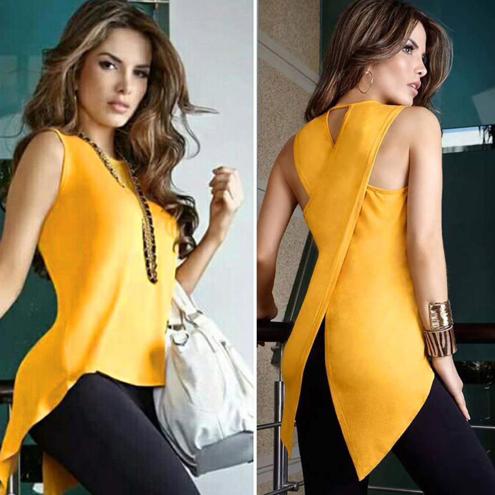 Sleeveless Women's Summer   Blouse   Casual Slim Slit Irregular Plus Size   Shirt   Tops Solid 3XL Chiffon O Neck Ladies   Blouses   Mujer