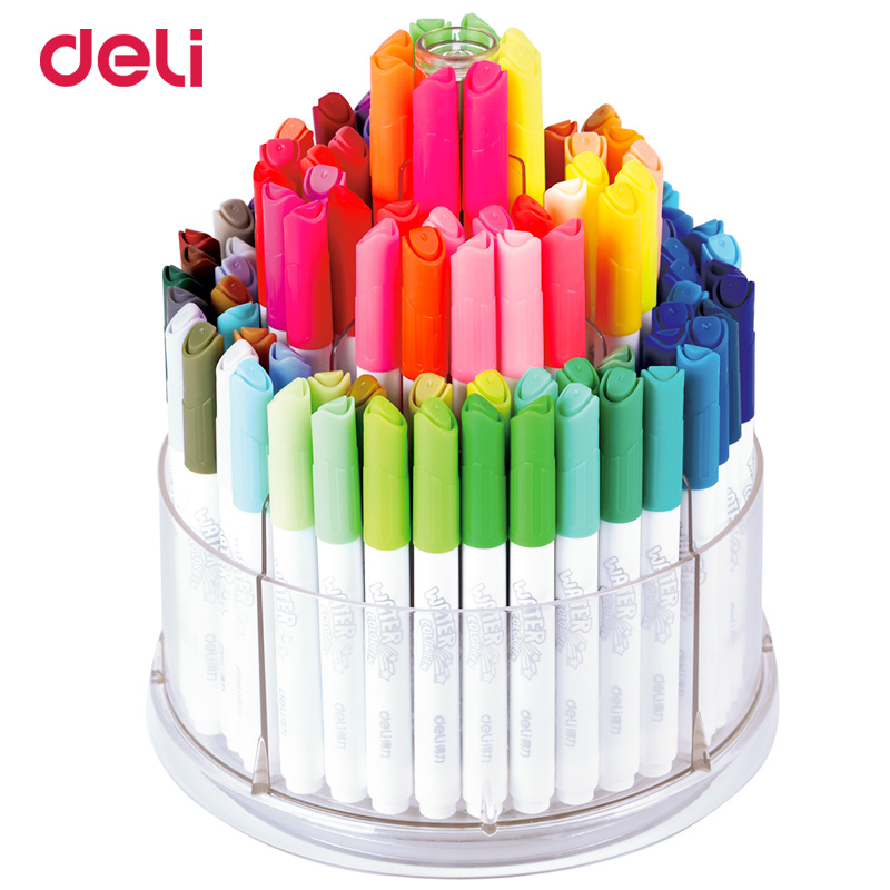 все цены на Deli watercolor pens 100 colors/box art stationery supplies water color markers easy washed drawing painting marker pen онлайн