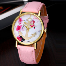 Fashion Women's Quartz Watch Leather Floral Printed Anchor Quartz Dress Wrist watches for women relogio feminino erkek kol saati