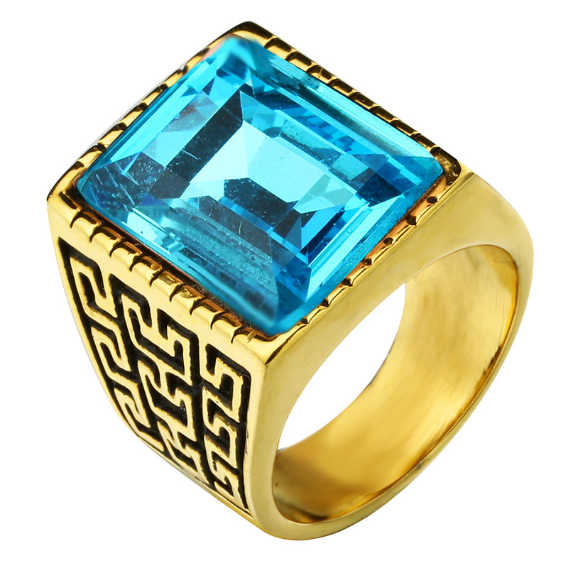 Mens Gold Color fashion big Red CZ Crystals brand rings ,stainless steel simple Great Wall Lines finger ring for women jewelry