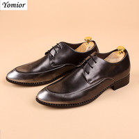 Yomior High Quality Men Leather Shoes Business Formal Man Dress Oxfords Wedding Shoe Handmade Luxury Loafers