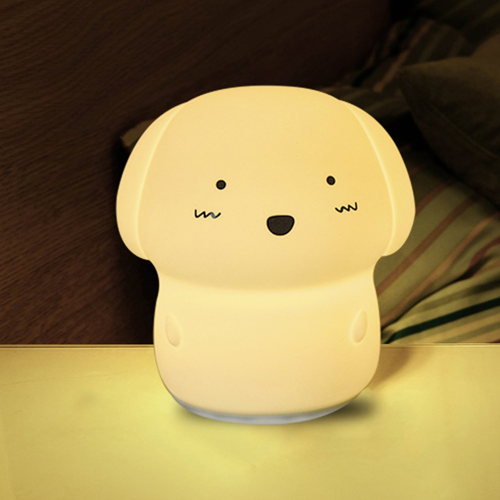 Dog 7 Colors Changing Silicone Light Flapping Night Lamp Soft Light Bedroom Baby Sleeping Decor Gifts ...
