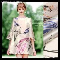 PRINT SILK ORGANZA SATIN FABRIC 14m/m Width 53 135cm100% Pure Silk Fabric Organza Sheer Fabric Floral Pattern Printed Tulip