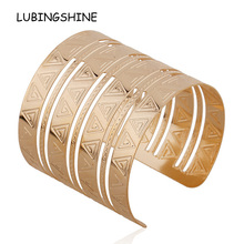 New Arrival Gold hollow out Woman Bracelets Geometric Patterns Bangles For Women Unique Bracelet Gift Bangles Jewelry FEAL B406