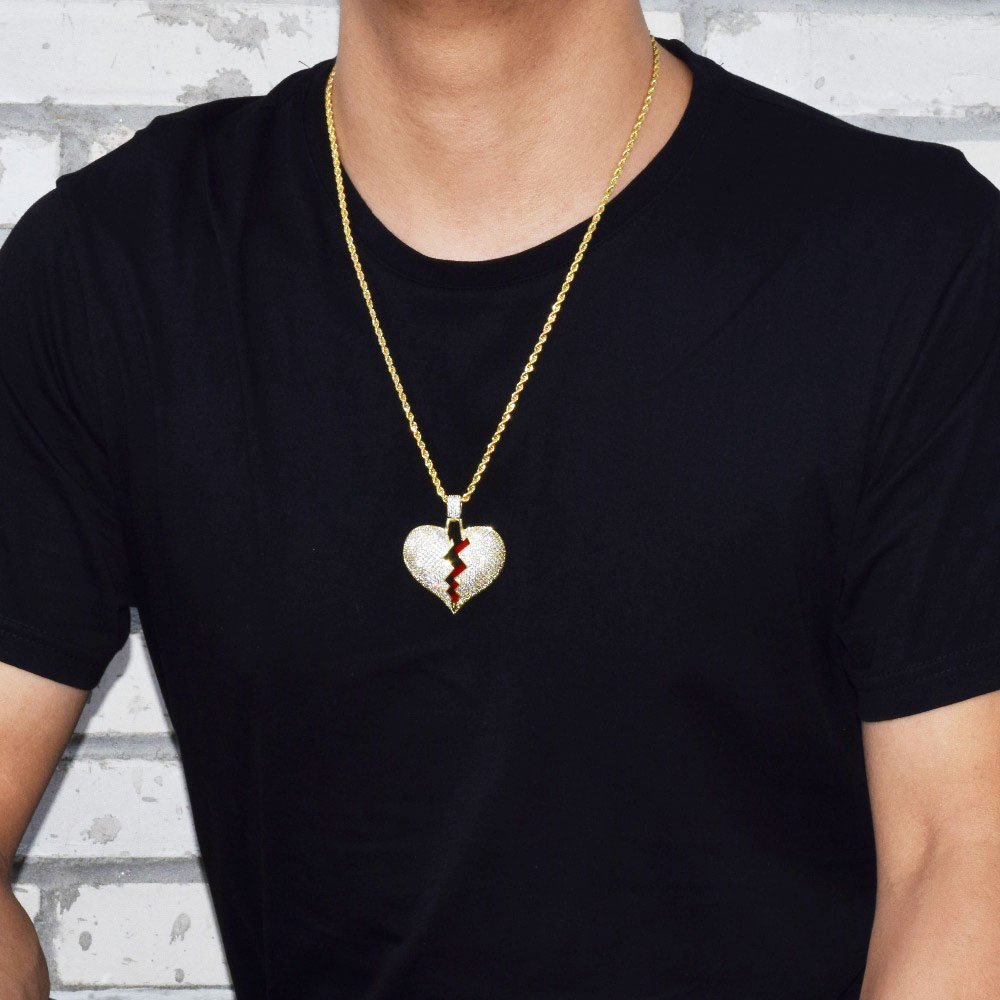 Red oil Heart Necklace & Pendant With 4mm Tennis Chain Gold Silver Color Cubic Zircon Men's Women Hip hop Jewelry For Gift 4