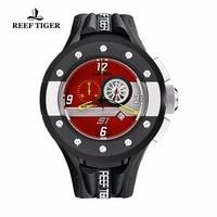 Reef Tiger/RT Mens Red Dashboard Dial Quartz Watch Men Sports Waterproof Chronograph Sport Date Watch Clock Relogio Masculino