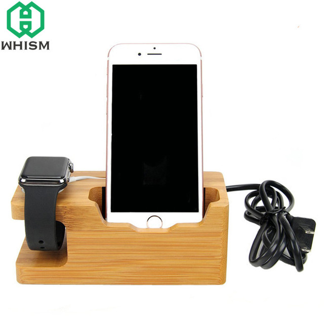 Whism Wooden Charging Dock Station Bracket Cradle Mobile Phone Charger Holder Stand For Watch Cellphone Home