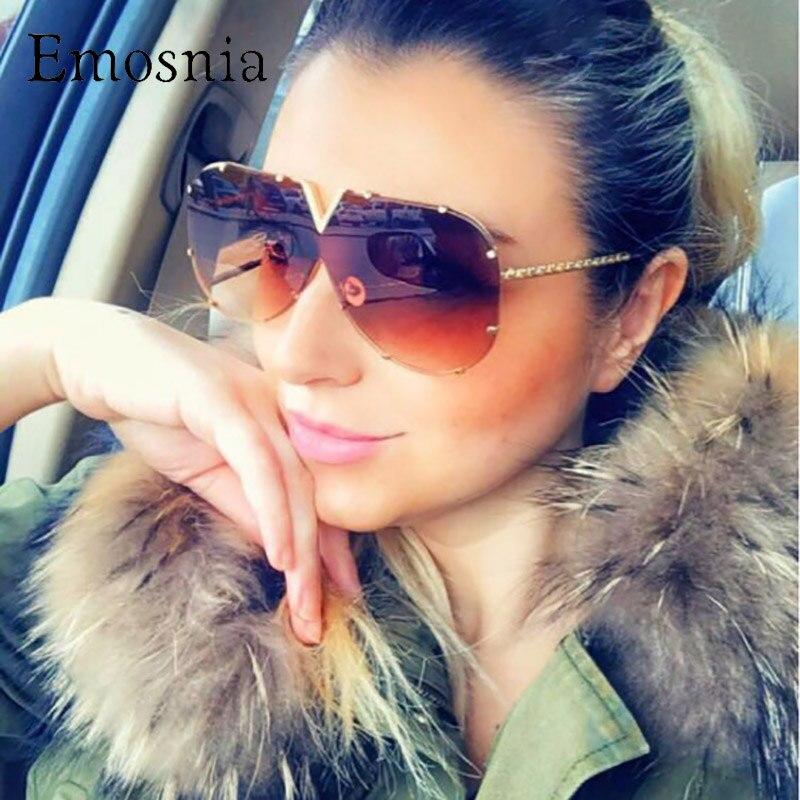 Emosnia Pilot Übergroßen Braun Sonnenbrille Für Weibliche Männer Kühle Rosa Marke Designer Top Sonne Gläser Für Frauen Italien Mode Stil